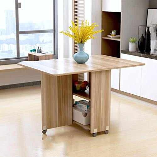 IG Mesa de Comedor Plegable para el hogar Mesa de Comedor movil, Plegable, Multifuncional, Resistente a los rasgunos, facil de Limpiar,1.2m