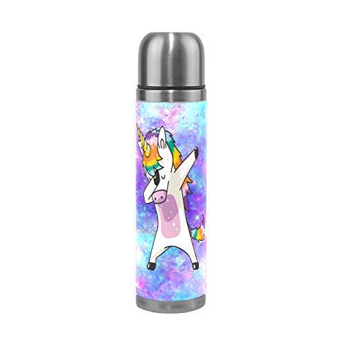 Dabbing - Botella de agua de acero inoxidable para niños, termo térmico, termo al vacío, taza de café de aluminio con soporte para botellas, 500 ml Unicorn 500ml