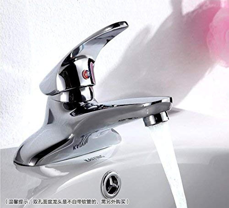 Willsego Wasserhahn Kupfer Einhand-Doppel-Loch warm und kalt Waschbecken Becken Wasserhahn Keramik Disc Spool (Farbe   -, Gre   -)