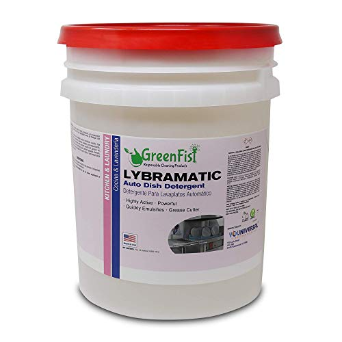 GreenFist Lybramatic | Commercial Dishwasher Detergent Industrial Grade [Ready-to-Use] {Liquid} ,5 Gallon Pail