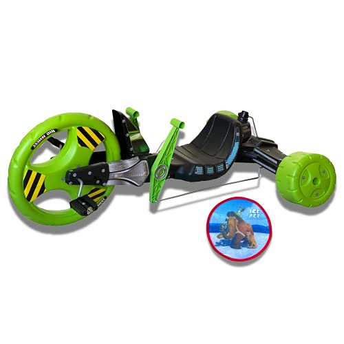 The Original Big Wheel 16' Sidewinder Drift Trike - with Ice Age Flying Disc, Big Wheels for Kids Ages 5-9 Boys & Girls Tricycles Outdoor Toys, Made in USA (Green)