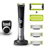 Philip Norelco OneBlade Pro Kit, Hybrid Electric Trimmer and Shaver with Charging Stand and Precision Comb, QP6520 + OneBlade Body Kit, 3 pieces, QP610 + 2 QP220 OneBlade Replacement Blades, Black