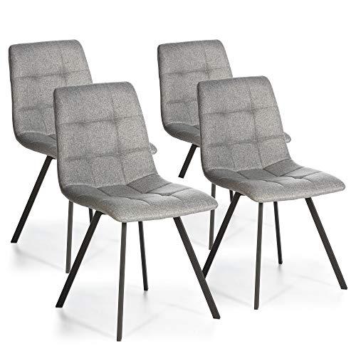 VS Venta-stock Set de 4 sillas Comedor Mila tapizadas Gris Claro, certificada por la SGS, 58 cm (Ancho) x 45 cm (Profundo) x 90 cm (Alto)