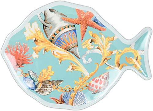Baci Milano - Assiette en mélamine Poisson Petit - ST.Tropez - FISH2.TRO01 26,5 x 19,5 cm.
