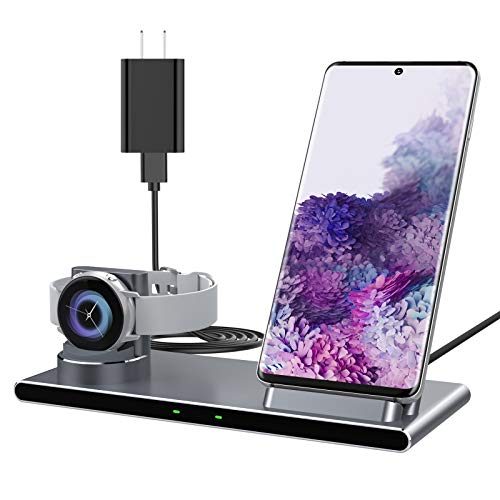 Yootech 2 in 1 Metal Wireless Charger, 10W Max Wireless Charging Stand with QC3.0 Adapter, Compatible with Galaxy Watch 42mm/46mm/Active2/1,Gear S3/S2/Sport,Galaxy S20/S10/S9/S8/Note10[Not for iWatch]