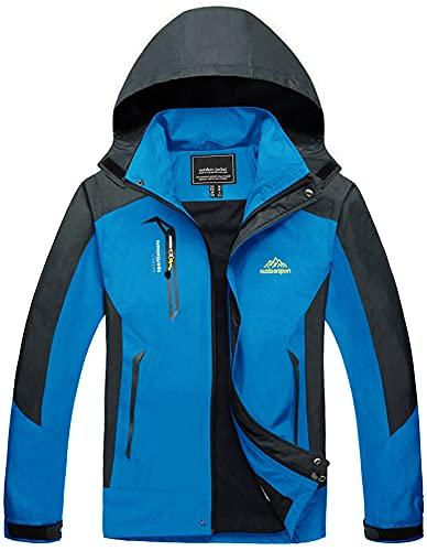 TACVASEN Mens Lightweight Jacket Winter Outdoor Walking Jacket Warm Snow Ski Windbreaker Breathable Water Resistant Sailing Jacket Hiking Camping Coat Blue