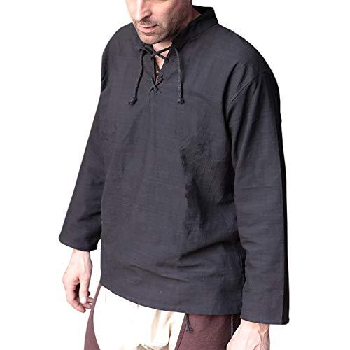 Elbenwald Mittelalter Hemd schwarz Baumwolle hochwertig - L