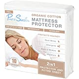 Pure Siesta Organic Cotton 5-Sided Waterproof Mattress Protector, Washable, Breathable & noiseless Bed Cover (Full)