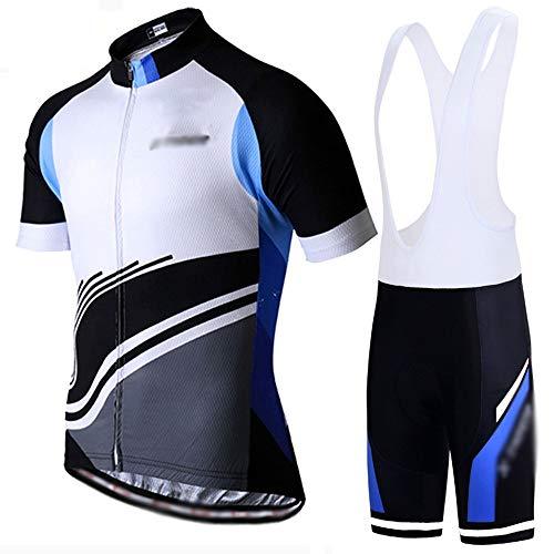 GONGMICF Transpirable Hombre Traje Ciclismo,Ciclismo Maillot,Anti-UV Bolsillos Jersey + Correa Pantalones Cortos...