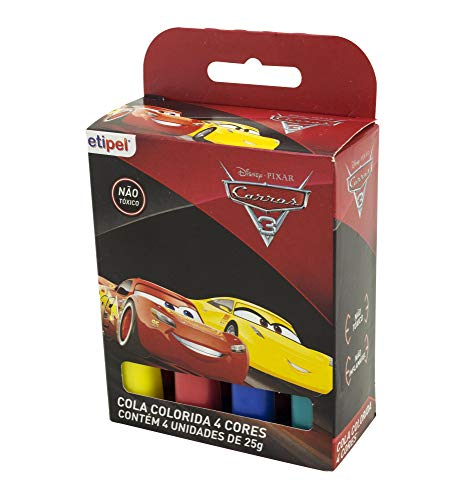Cola Colorida 4 Cores Cars, Disney, Cola Colorida 4 Cores Cars DYP-282, Estampa Cars, pacote de 4