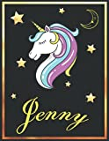 Jenny: Personalized Unicorn Sketchbook For Girls & Women With Elegant Golden Name Frame and Stars - 8.5 x 11 inches, 100 Pages White Paper Black Cover ... Doodle Create and Taking Note ) MUST SEE !!!