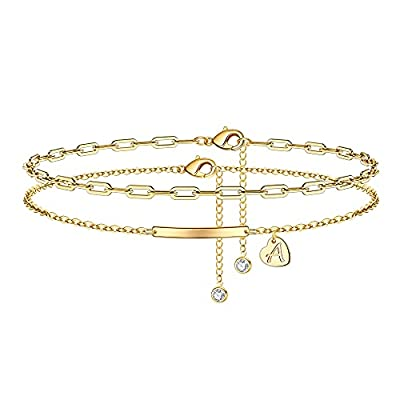 IEFWELL Gold Initial Anklets for Women, 14K Gold Filled Layered Heart Ankle Bracelets for Women Gold Anklets for Women Heart Anklets with Initials A