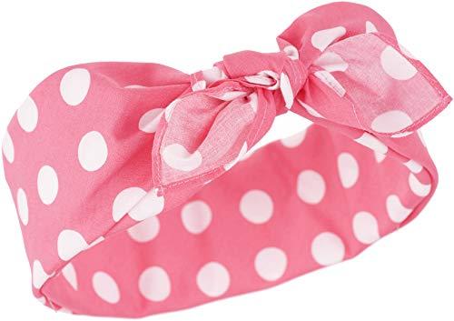 Küstenluder Damen Haarband Myriam Punkte Bandana Dunkles Pink mit Dots 53cm x 53cm