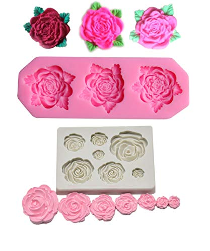 Tvoip 2PCS Rose Flower Silicone Mold Fondant Mold Cake Decorating Tools Chocolate Mold Baking Nonstick and Heat Resistant Reusable
