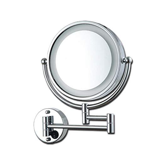 Bath Miroirs de Maquillage Miroir grossissant 3X à Fixation Murale - Miroir cosmétique éclairé par LED Miroir à Deux Faces pour Salle de Bain, lumière Chaude et lumière Blanche,Silver_8.5inch