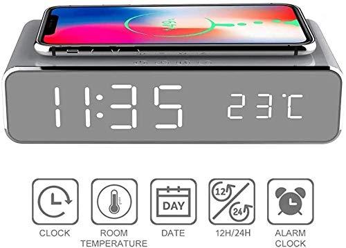 FOXPIG Madera Reloj Despertador Digital con Carga inalámbrica, 3 Pantalla LED de alarmas, Control de Sonido y Pausa Doble de Dormitorio, de Noche, Oficina