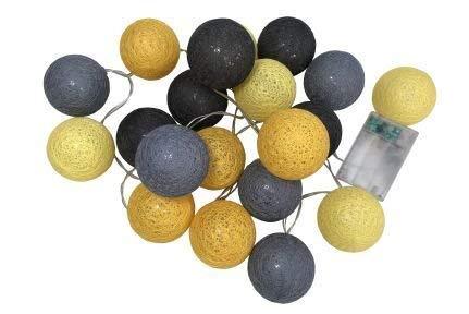 Guirlande de 20 LED boules de coton - gris/noir/jaune