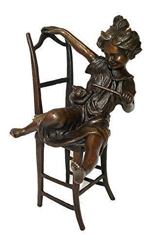 Bronce, niño con gato, bronce Sculpture sign. Iffland