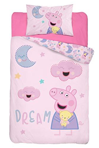 Baby Bettwäsche Set 2tlg. 100% Baumwolle Größe: 100x135 cm, 40x60 cm, ÖkoTex Standard 100 (Peppa Dream)