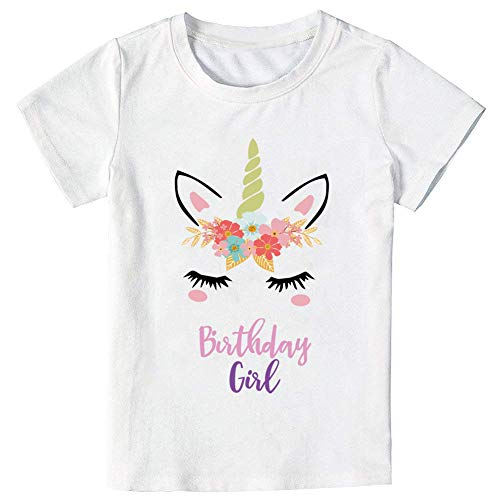 Unicorn Birthday T-Shirt, Unicorn Outfit Gifts for Girls (7-8 Years) White