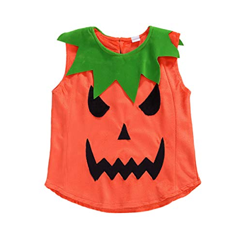 Toddler Baby Girl Boy Halloween Pumpkin Costume Sleeveless Tee Top with Hat Outfits (4-5T, Orange C)