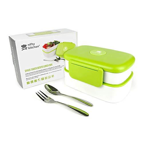 Magic Space Saver Lunch Box - Boîte à repas à 2 compartiments avec couvercle anti-fuite - Sans risques pour le micro-ondes. Inclut les séparateurs offerts + un livre électronique de recettes.