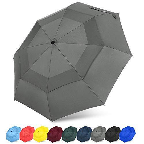 G4Free Compact Travel Umbrella with SAFE LOCK Double Canopy Windproof Auto Open Close Folding Umbrella(Grey)