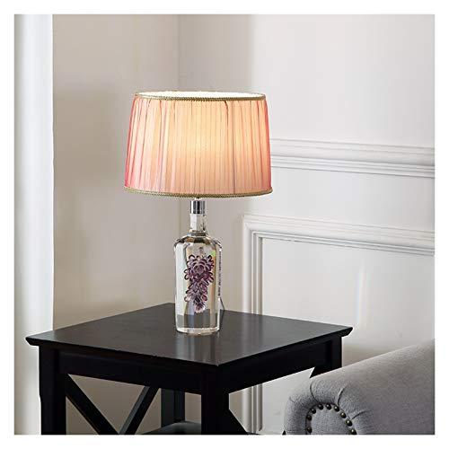 Lámpara de Escritorio 20.9' transparente de cristal del arte lámpara de mesa rosa del tambor de la botella de vino de sombra lámpara de mesa for el dormitorio, sala de estar, oficina, mesa, estante fo