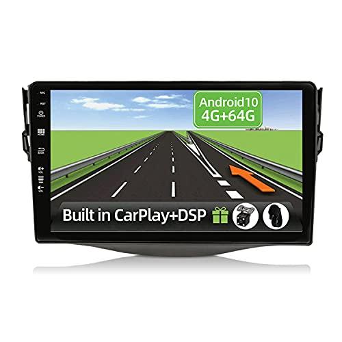YUNTX Android 10 2 Din Autoradio per Toyota RAV4 (2007-2011)-4G+64G-[Integrato CarPlay/Android auto/DSP]- Gratuiti 4-LED Camera -Supporto DAB/Controllo del Volante/360 Camera/MirrorLink/Bluetooth 5.0