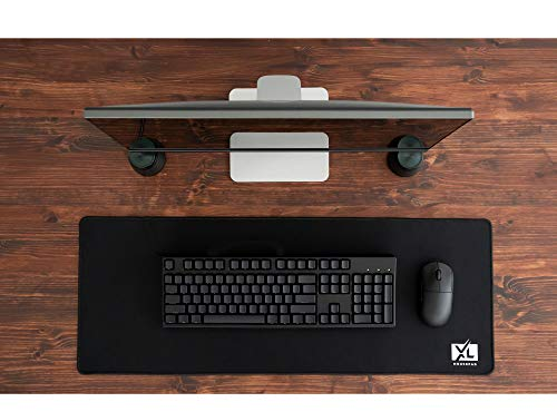 XL Mouse Pad - Large Extended Gaming Desk Mousepad (800x300x3mm) - Nonslip Rubber Base and Water Spill Resistant Desktop Keyboard Mouse Mat - Anti-Fray Cloth - Black