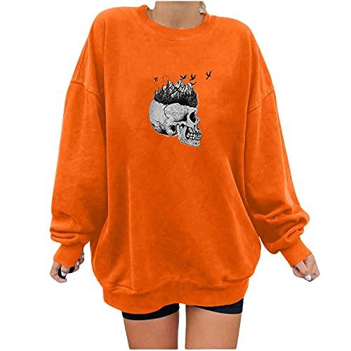 Bestyyo Cuello redondo impresión suelta casual manga larga Halloween sudadera con capucha Tops Q90929, naranja, M