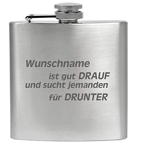 Edelstahl Gravur Flachmann Gut Drauf Gut Drunter Flirten Für Dummies Geschmacksneutral Rostfrei, Größe 6 oz 177 ml, Farbe Silber