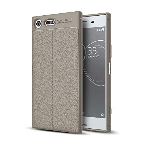 GUOQING Funda para Sony Xperia XZ Premium, a prueba de golpes, de alto impacto, de goma resistente, híbrida, funda protectora antigolpes, resistente a los golpes, con textura de cuero (color: gris)
