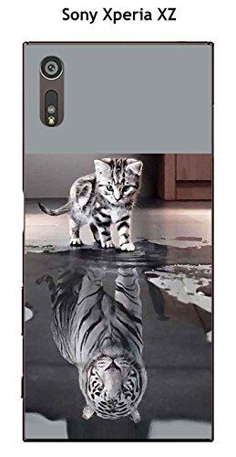 Onozo Coque TPU Gel Souple Sony Xperia XZ Design Chat Tigre Blanc