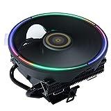DS Black CPU Cooler, Aluminum Extrusion Cooling CPU Fan for Intel LGA 775/1155/1156/1366 (Fixed RGB Color, C Series)