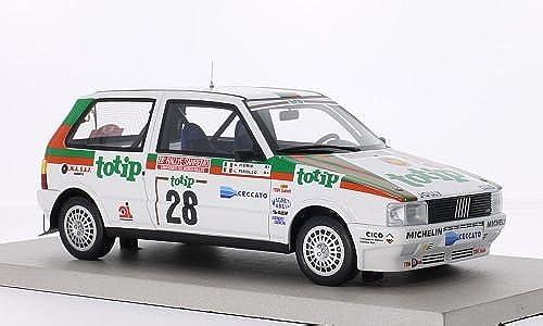 Fiat Uno Turbo ie, No.28, Jolly Club, Totip, Rallye WM, Rallye Sanremo, 1986, Modellauto, Fertigmodell, Topmarques Collectibles 1 18