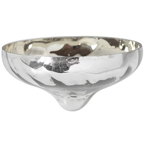 vonHermine Schwimmschale Schwimmlicht Ø 10 cm Schwimmkerzenhalter Silber geschwungenes Glas