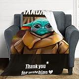 Baby Yoda Manta de Arte Manta de Franela Súper Suave Cómodo Cálido paño Grueso Suave Anti-Pilling para el Sofá de la Oficina Regalos de Cine Calidad Lavable 130X100cm