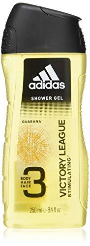 adidas Victory League Duschgel 3-in-1, Würzig-frischer Duft mit Bergamotte & Lavendel für Körper, Haare & Gesicht, pH-hautfreundlich (1 x 250 ml)