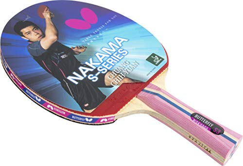 ping pong paddle butterflies 2 Butterfly Nakama S-3 Table Tennis Racket – Professional ITTF Approved Butterfly Ping Pong Paddle – Flextra Rubber – Carbon Ping Pong Paddle – 2 Ping Pong Balls Included