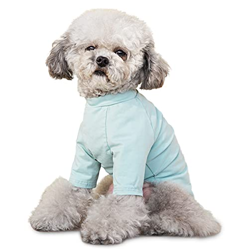 Camiseta de perro Antifouling Algodón Camisa de Perro Cachorro Camisetas Gato Tanque Chaleco Traje Cachorro Pijamas Mascotas Ropa para Perro Pequeño Gato Azul L
