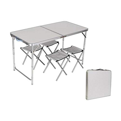 PRATIKO LIFE Maletín 1 Mesa + 4 sillas Pratiko Set PIC-Nic, Blanco/Aluminio