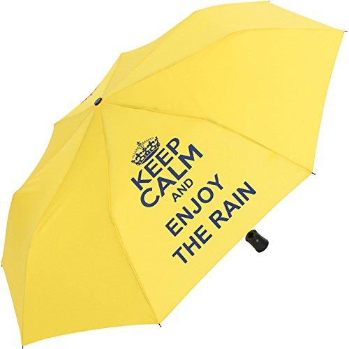Mini Taschenschirm stabil Auf-Automatik - Bedruckt Keep Calm - gelb