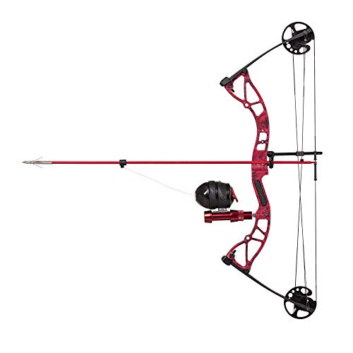 Cajun Bowfishing Shore Runner Kit Compound Bowfishing Bow Ready to Fish Kit with Arrow Rest, Bowfishing Reel, Reel Seat, Blister Buster Finger Pads, Fiberglass Arrow, Red/Black