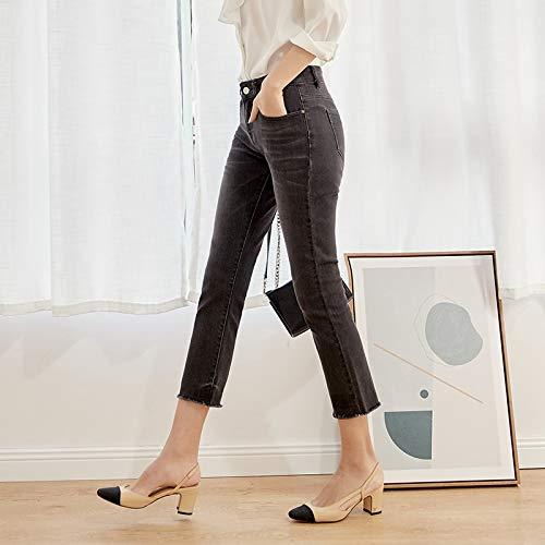 FDBVDKZ Damen Jeans Spring Black and White - Schlagjeans in Übergröße für Frauen mit mittlerer Taille - Lässige Weichspüler-Jeans XL - Schwarz 9009