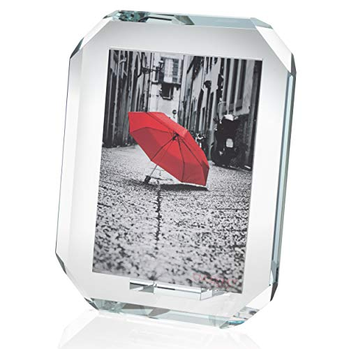 OMODOMO - Marco de cristal para fotos de 18 x 24 cm, hecho a mano en Italia, portafotos de mesa ocho, idea regalo único para aniversario, boda, graduación, bodas de oro y ocasiones especiales.