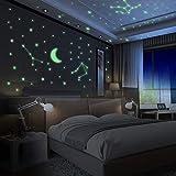Yosemy Luminoso Pegatinas de Pared Luna y Estrellas Fluorescente Decoración de Pared para Dormitorio de Niños DIY Decoración de la Habitación Para Niña Bebé, 425 Pzas