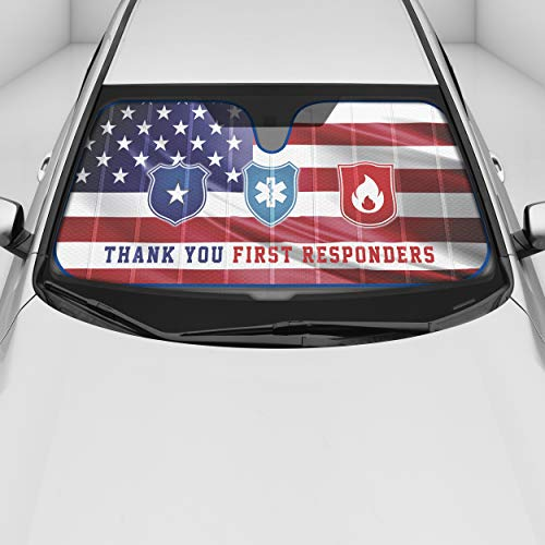 BDK Thank You First Responders Front Windshield Shade, Accordion Folding Auto Sunshade for Car Truck SUV-Blocks UV Rays Sun Visor Protector, Keeps Your Vehicle Cool-58 x 27 Inch