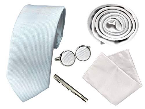 BUNCHERY & SONS Krawatte Set mit Einstecktuch, Klammer und Maschettenknöpfe in edler Geschenkbox weiß Hochzeit
