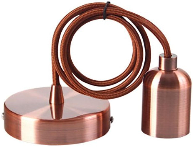 Lampenfassung und Pavillon aus Kupfer + Textilkabel, Braun